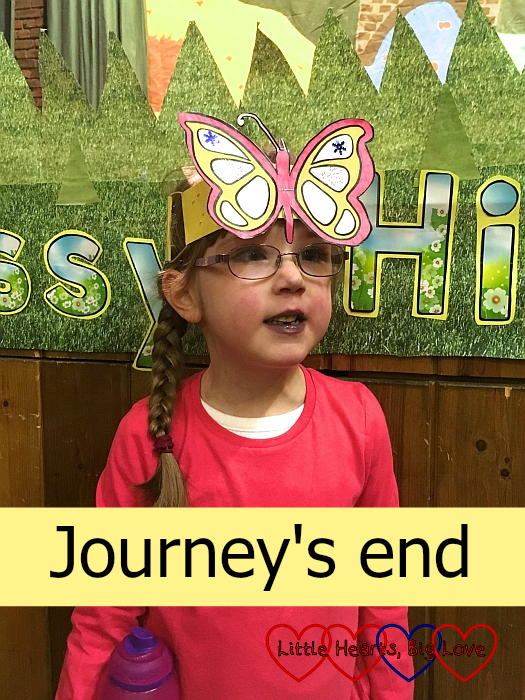"Jessica wearing a butterfly headband - ""Journey's end"""