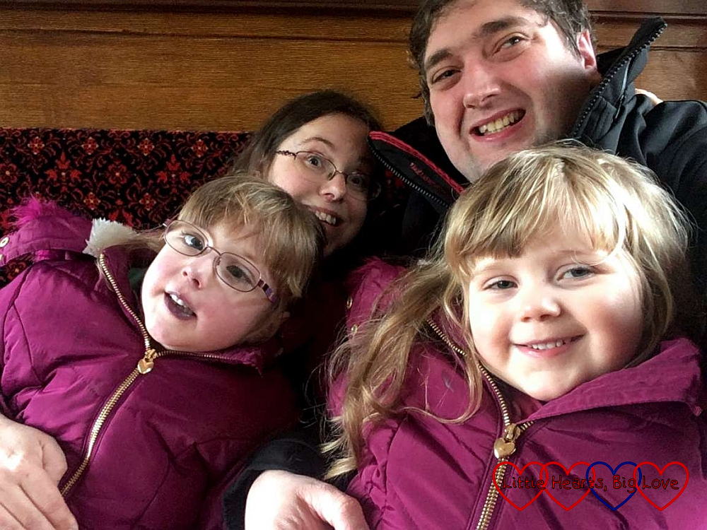 A selfie of Jessica, me, hubby and Sophie on the Isle of Wight steam railway