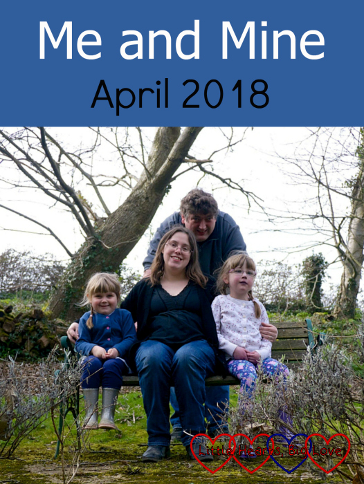"Sophie, me, hubby and Jessica sitting on a bench in the garden of our holiday cottage - ""Me and Mine - April 2018"""
