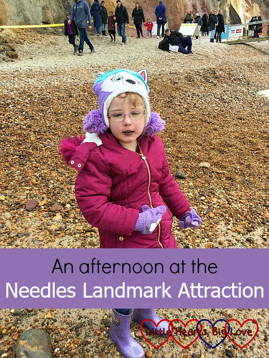"Jessica on the shingle beach at Alum Bay - ""An afternoon at the Needles Landmark Attraction"""