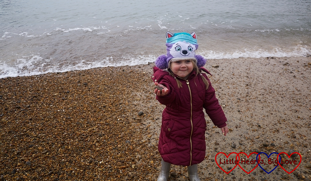 Sophie on the beach at Alum Bay
