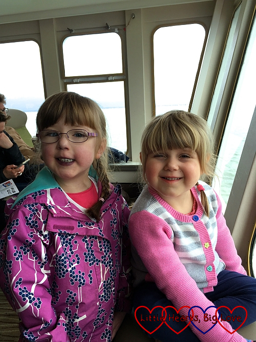 Jessica and Sophie on the Isle of Wight ferry