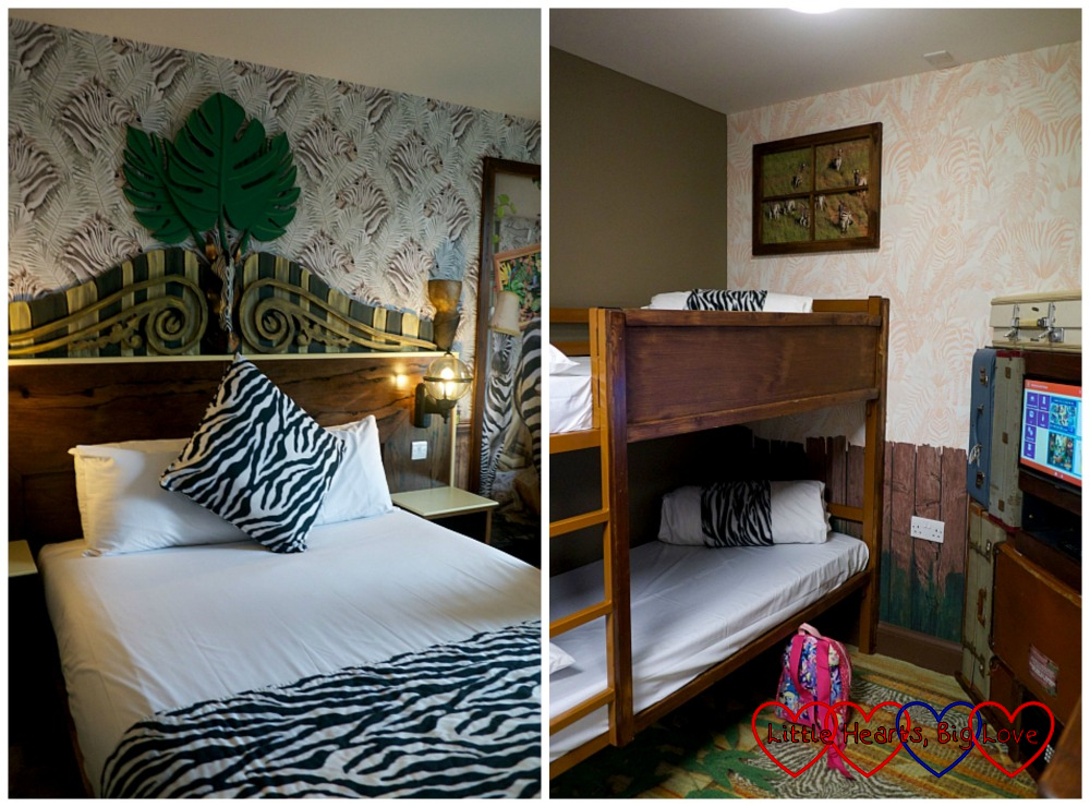 The adult sleeping area (left) and children's sleeping area (right) in our zebra-themed room