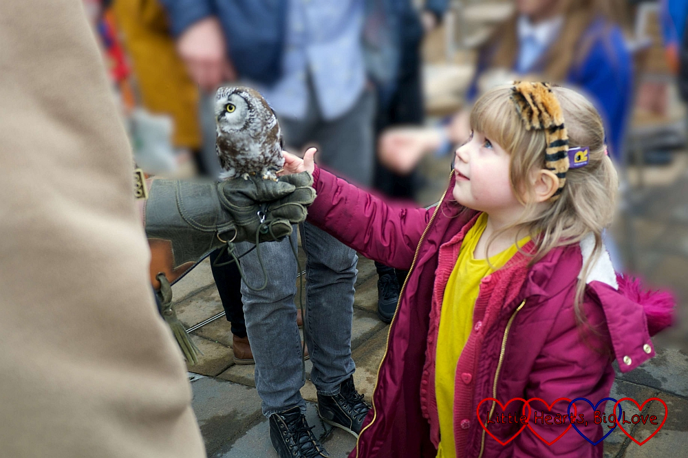 Sophie stroking one of the owls from Chessington zoo
