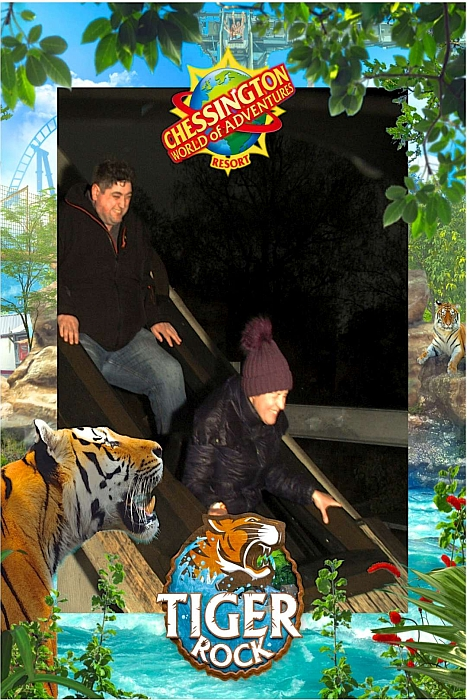 Hubby and Natalie on the Tiger Rock ride