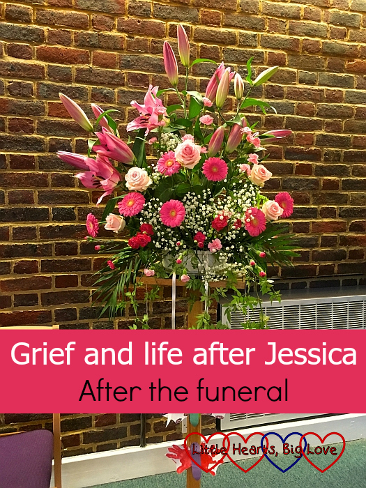 "The flower arrangement at Jessica's funeral - ""Grief and life after Jessica: after the funeral"""