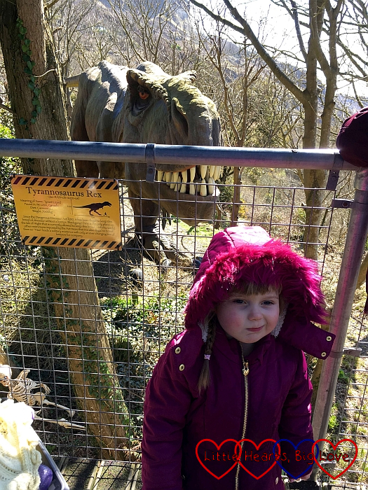 Sophie standing by the Tyrannosaurus Rex in Restricted Area 5 at Blackgang Chine