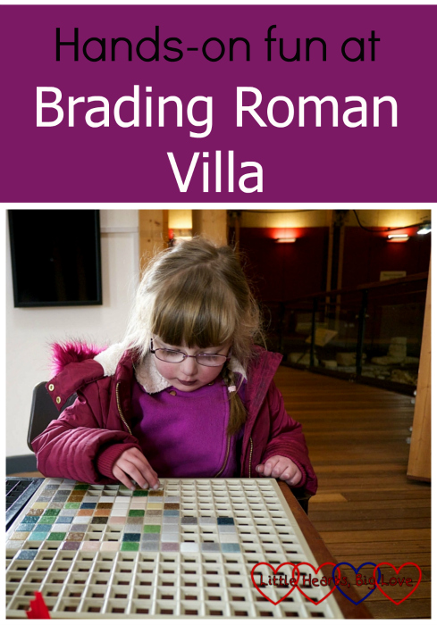 "Jessica making a mosaic picture - ""Hands-on fun at Brading Roman Villa"""