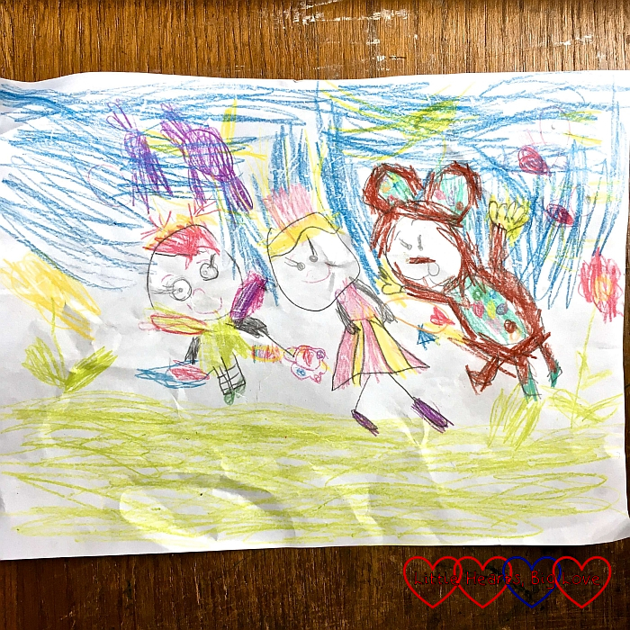 Jessica's drawing of her favourite toys Kerry, Doll and Monkey