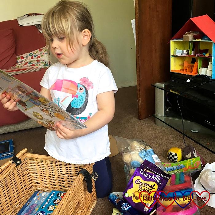 Sophie opening her hamper