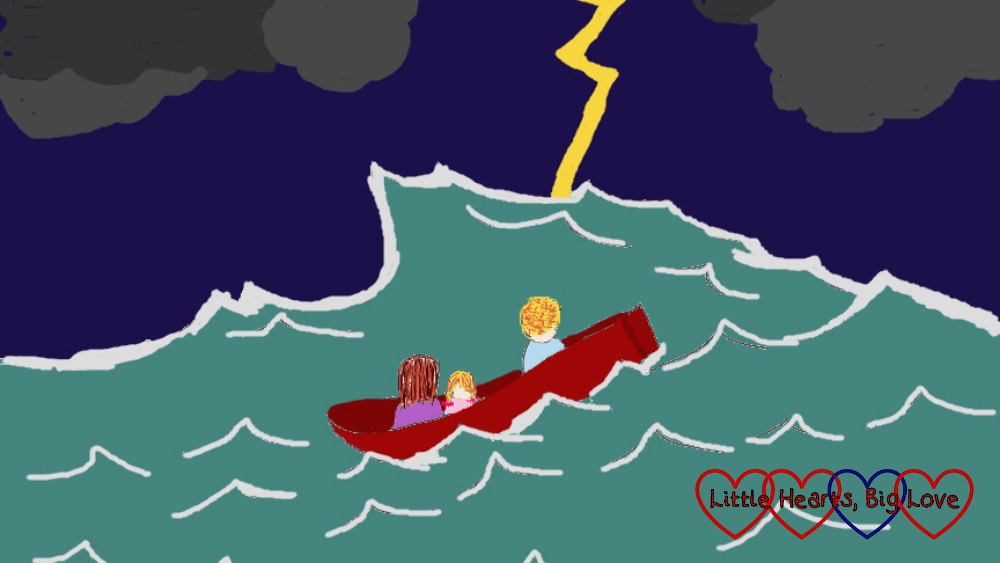 A drawing of me, hubby and Sophie in a boat tossed about on a stormy sea