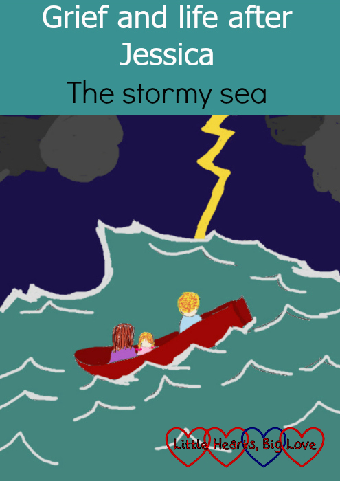 "A drawing of me, hubby and Sophie in a boat tossed about on a stormy sea - ""Grief and life after Jessica: the stormy sea"""