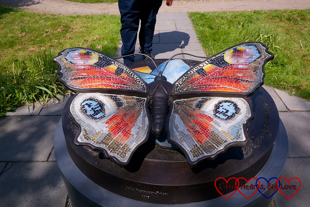A memorial in the shape of a butterfly