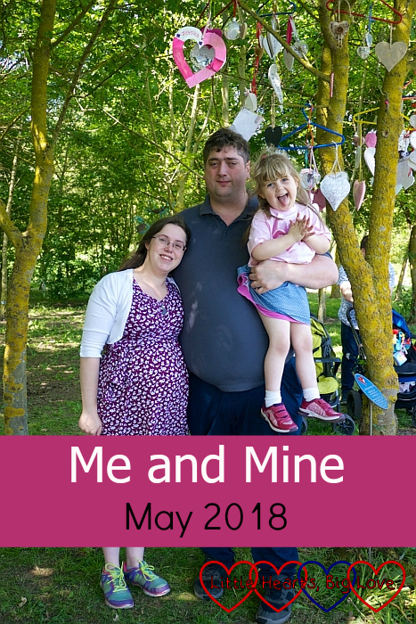 "Me, hubby and Sophie at the National Memorial Arboretum underneath the heart we hung in the tree for Jessica - ""Me and Mine - May 2018"""