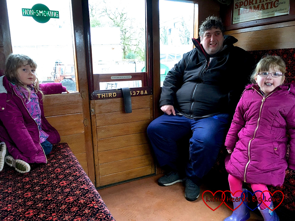 Sophie, hubby and Jessica in our third class carriage on the Isle of Wight steam railway