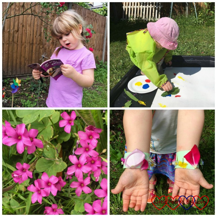 Sophie with the I-Spy In The Garden book; Sophie doing some leaf printing; pink sorrel in the garden; Sophie's nature bracelets