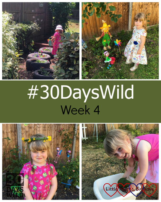 "Sophie watering flowers in a garden; Sophie with the scarecrow and other features we have added to Jessica's memorial garden; Sophie wearing a flower crown made of hawskbeard; Sophie sailing a bark boat in a washing up bowl - ""#30DaysWild - Week 4"""
