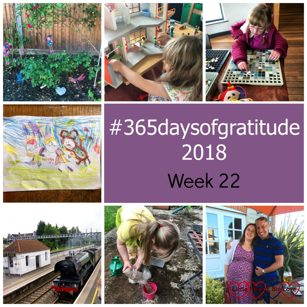 "The roses in the garden; Sophie playing with the Playmobil; Jessica at Brading Roman Villa; Jessica's drawing of Kerry, Doll and Monkey; the Flying Scotsman passing through a station; Sophie planting flowers; me and my brother - ""#365daysofgratitude 2018 - Week 22"""