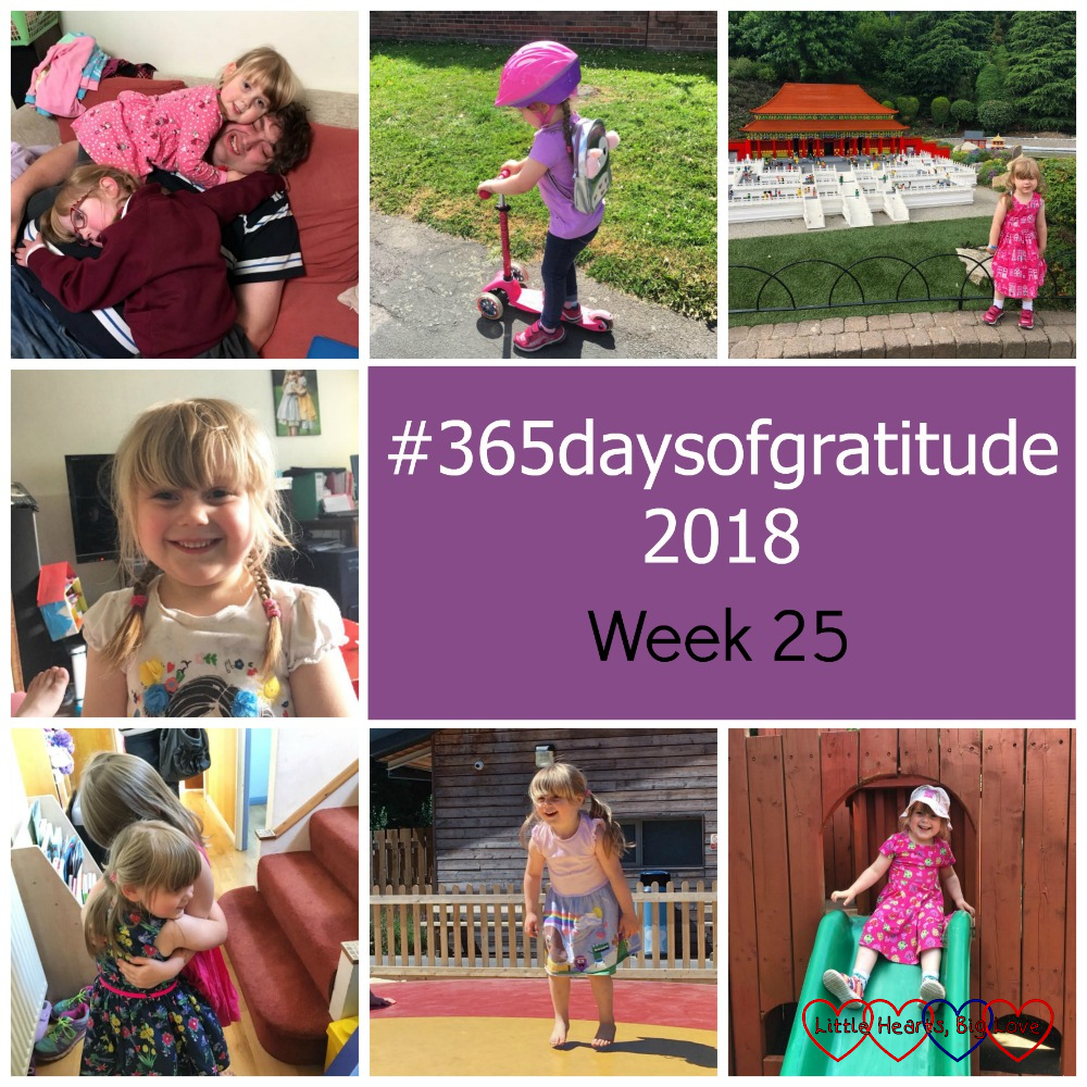 "Sophie and Jessica climbing all over their daddy; Sophie on her scooter; Sophie at Legoland; Sophie grinning at the camera; Sophie hugging a friend; Sophie bouncing on a inflatable pillow; Sophie going down a slide - ""#365daysofgratitude 2018 - Week 25"""