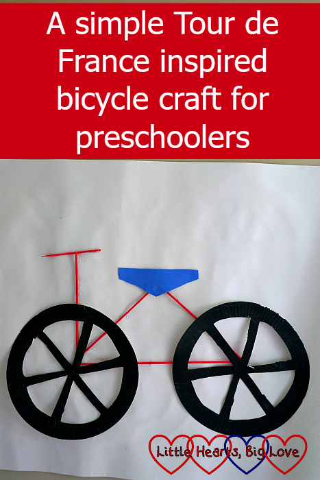 "A bicycle picture made from paper plates, wooden skewers and craft foam - ""A simple Tour de France inspired bicycle craft for preschoolers"""