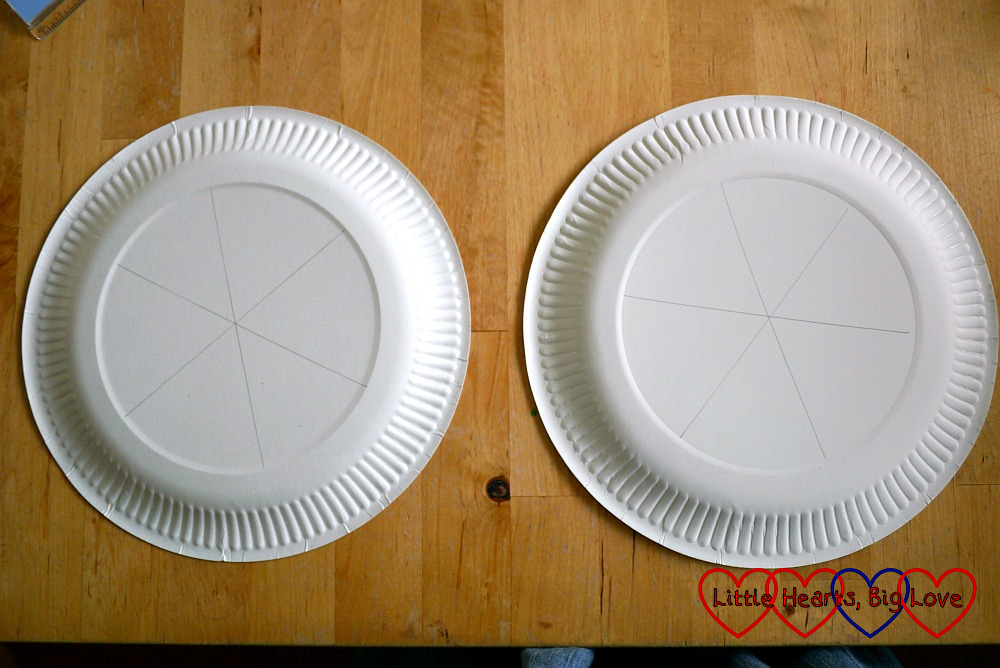 Two paper plates with six segments marked on the back