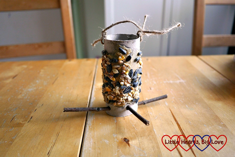 The finished toilet roll tube bird feeder with string tied to the top