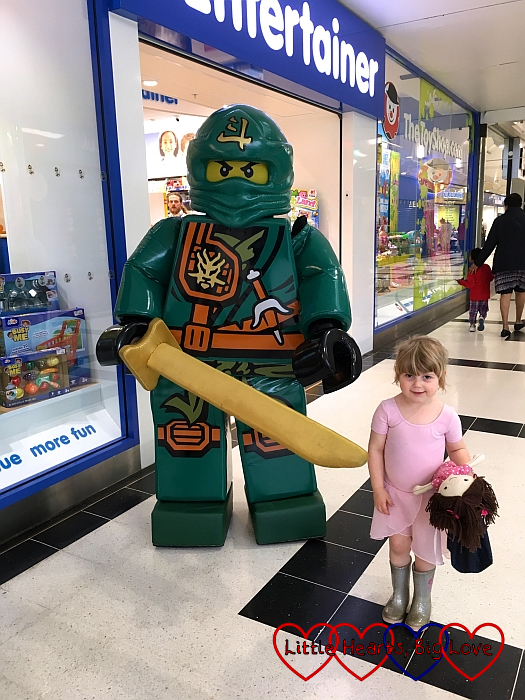 Sophie with one of the Lego Ninjago characters