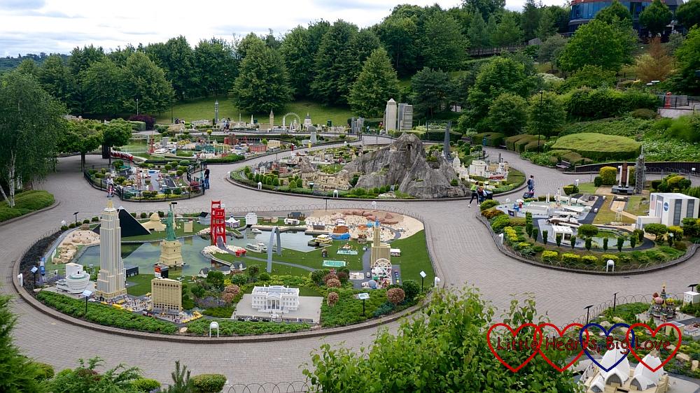 Miniland seen from the Sky Rider ride at Legoland