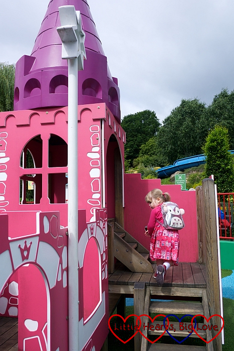 Sophie exploring the princess castle at Brickville