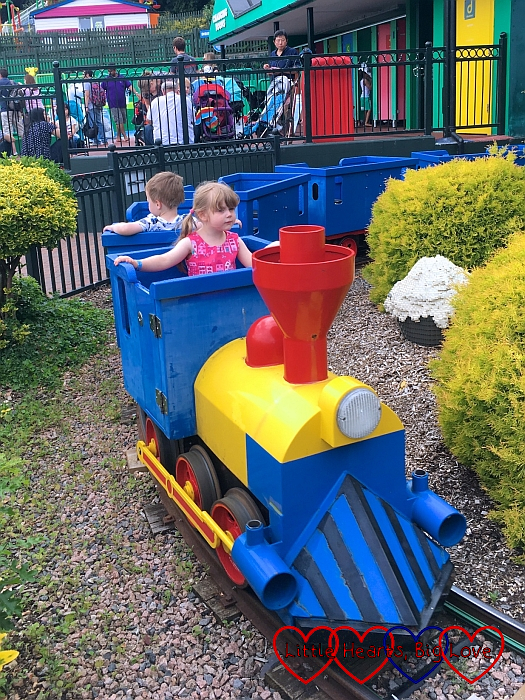 Sophie driving the Duplo Train