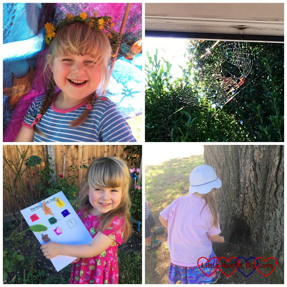 "Sophie sitting in her tepee wearing a flower crown; a spider web above our back door; Sophie holding her rainbow nature hunt sheet; Sophie finding a ""fairy door"" in a tree"