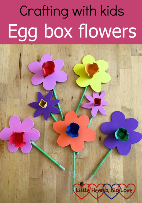 "Coloured flowers made from egg boxes and craft foam - ""Crafting with kids - egg box flowers"""