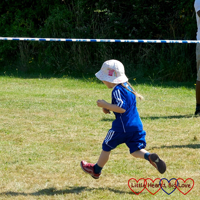 Sophie winning one of the races at her preschool sports day