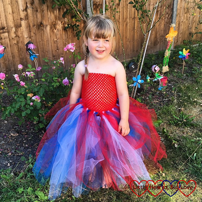 Sophie wearing her pretty red, white and blue tutu