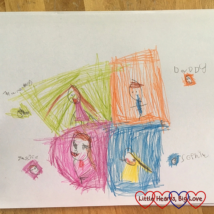 A drawing of Mummy, Daddy, Jessica and Sophie
