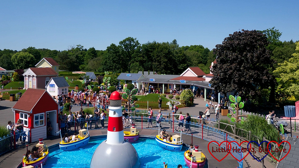 A view of Peppa Pig World from the Queen's Flying Coach Ride