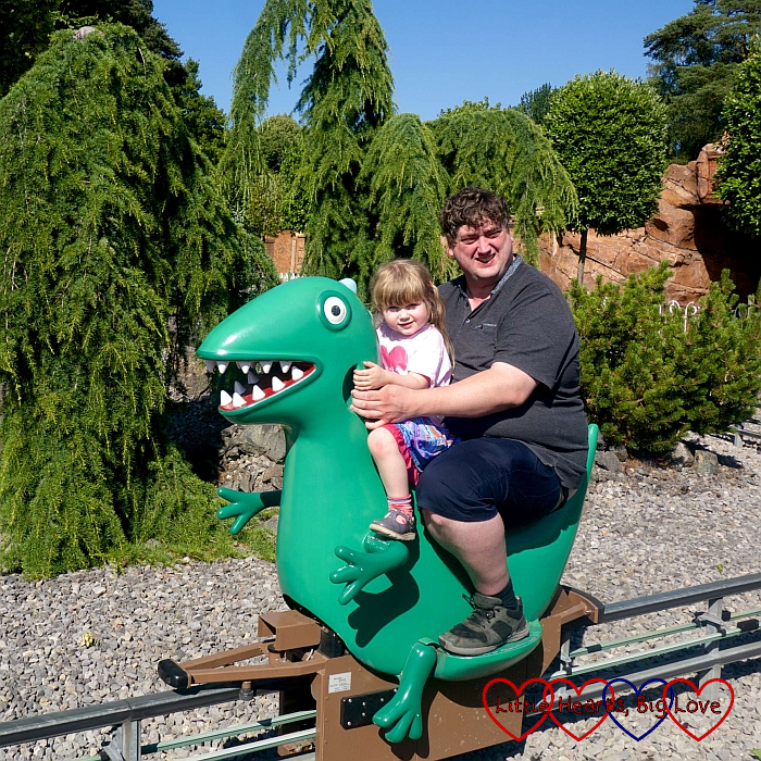 Sophie and Daddy on George's Dinosaur Ride