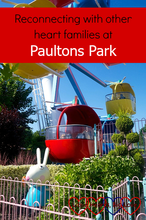 "Sophie and hubby on Miss Rabbit's Helicopter Flight ride - ""Reconnecting with other heart families at Paultons Park"""