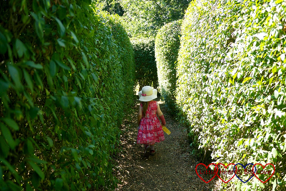 Sophie making her way through the maze at Iver Environment Centre