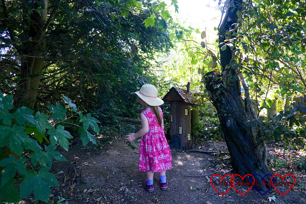 Sophie looking at the fairy houses in one of the forest play areas