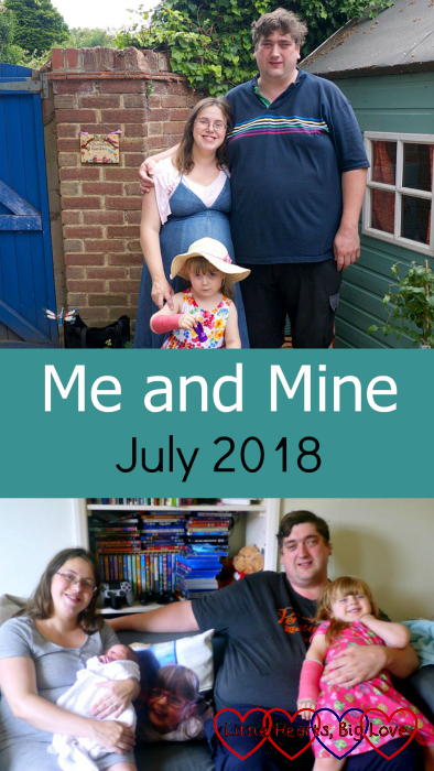 "(top) me, hubby and Sophie in Jessica's garden; (bottom) Me holding Thomas with hubby and Sophie sitting on the sofa with a cushion showing a picture of Jessica in the middle of is - ""Me and Mine - July 2018"""