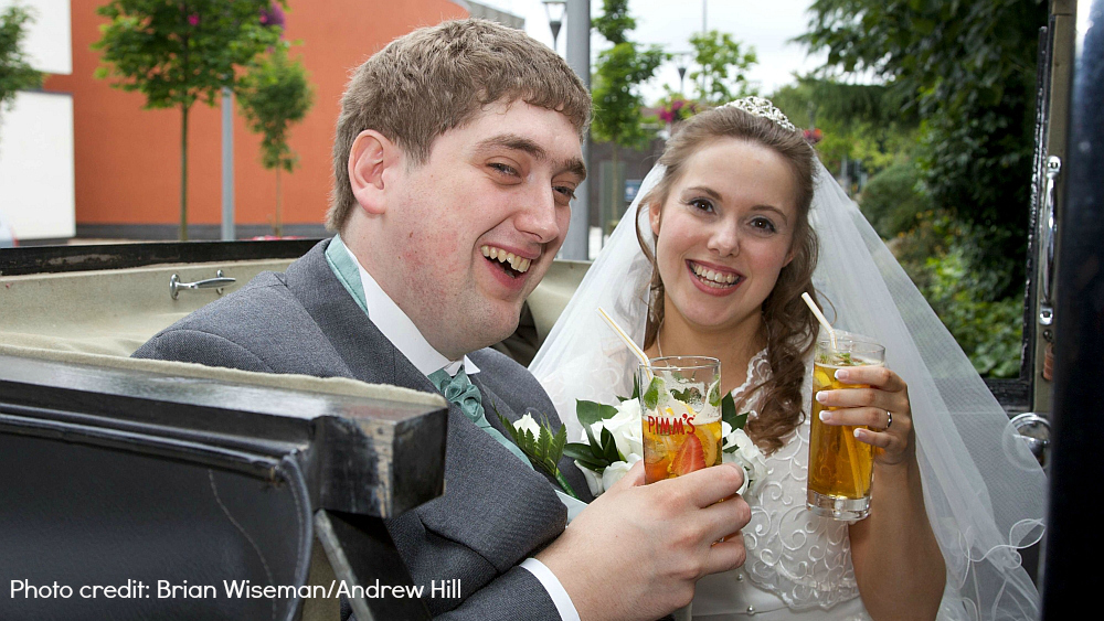 Me and hubby drinking Pimms on our wedding day