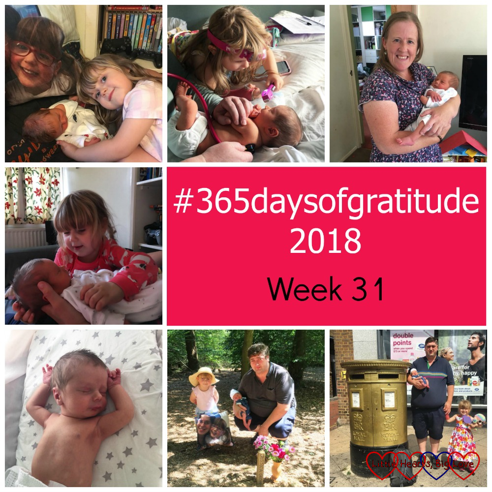 "Sophie and Thomas with Jessica's photo cushion; Sophie checking Thomas over; Godmummy Katy giving Thomas a cuddle; Sophie cuddling Thomas; Thomas stretched out in his Moses basket; hubby, Sophie and Thomas with Jessica's photo cushion at Jessica's forever bed; hubby, Sophie and Thomas next to a gold postbox - ""#365daysofgratitude 2018 - Week 31"""