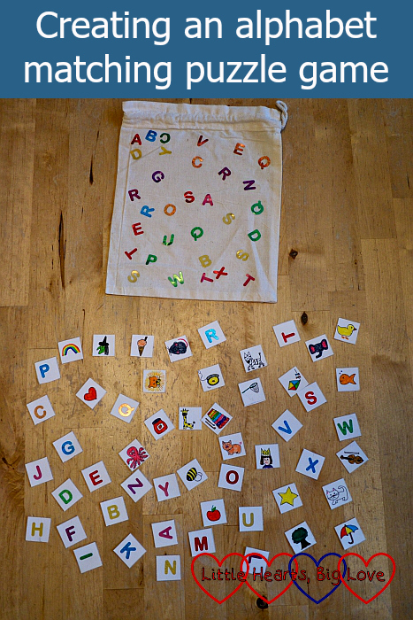 "Letter squares and picture squares with a fabric bag covered in letter stickers - ""Creating an alphabet matching puzzle game"""