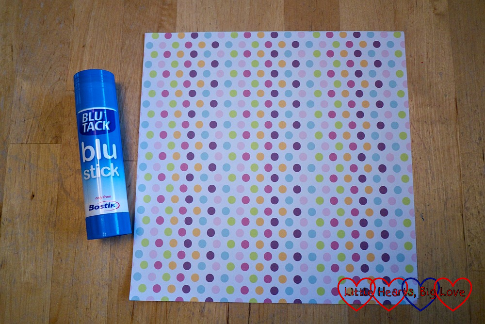 Spotty patterned paper and a Bostik blu stick