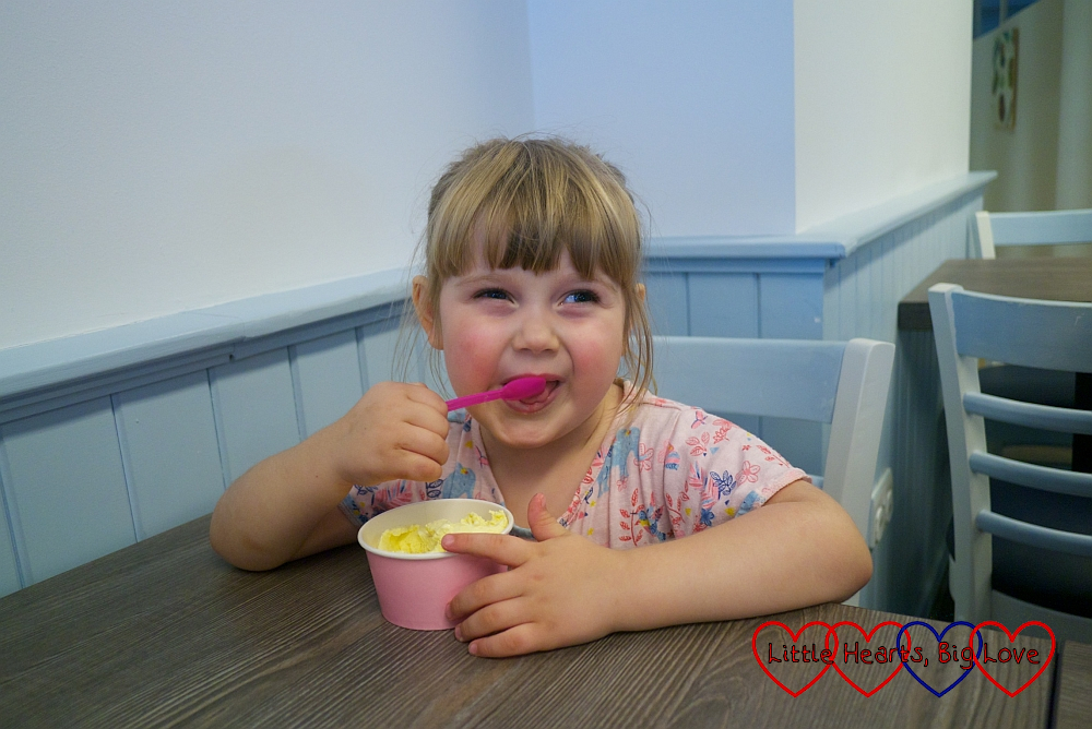 Sophie enjoying a vanilla ice-cream
