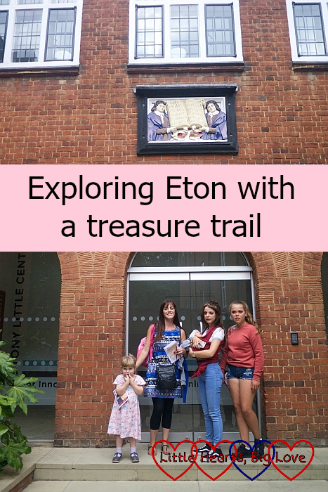 """My sister, nieces, Sophie and Thomas outside one of the Eton College buildings - """"Exploring Eton with a treasure trail"""""""