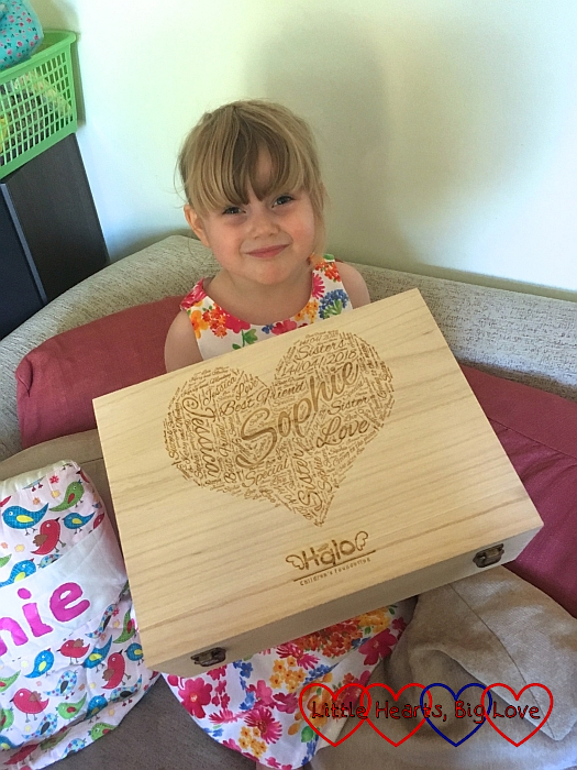 Sophie with her personalised memory box from Halo