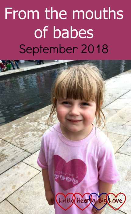 "Sophie wearing her ""Sister of a heart hero"" t-shirt - ""From the mouths of babes - September 2018"""