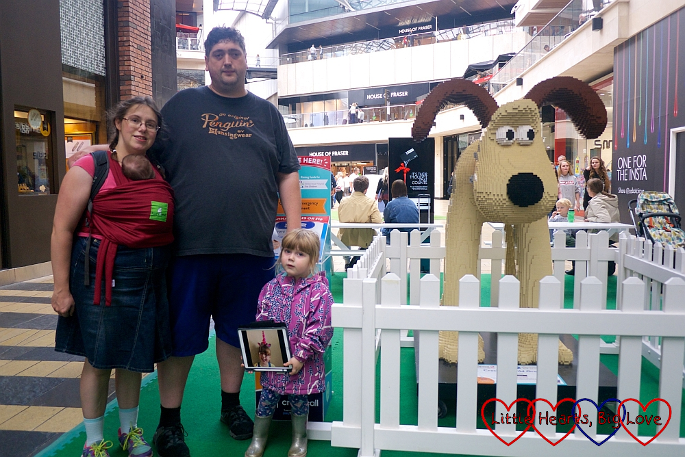 "Me, hubby, Sophie and Thomas with a picture of Jessica at ""Cracking Build Gromit"""
